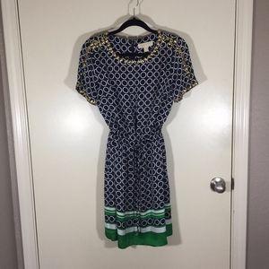 Michael Kors navy, white and green dress
